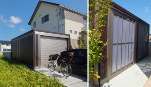 ガレージを建てる為に、敷地の空きを設けて家を建てたそうです。